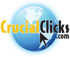 CrucialClicks.com Logo, which looks like an Earth Globe with 'Crucial' in a bright and warm yellow font with 'Clicks.com' in a deep, dark, black font.